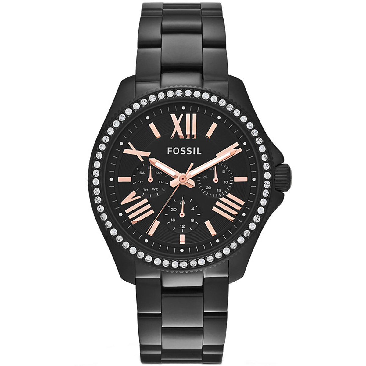 Damenuhren schwarz  Fossil Uhr Cecile AM4522 Damenuhr Schwarz Edelstahl Strass Lady ...