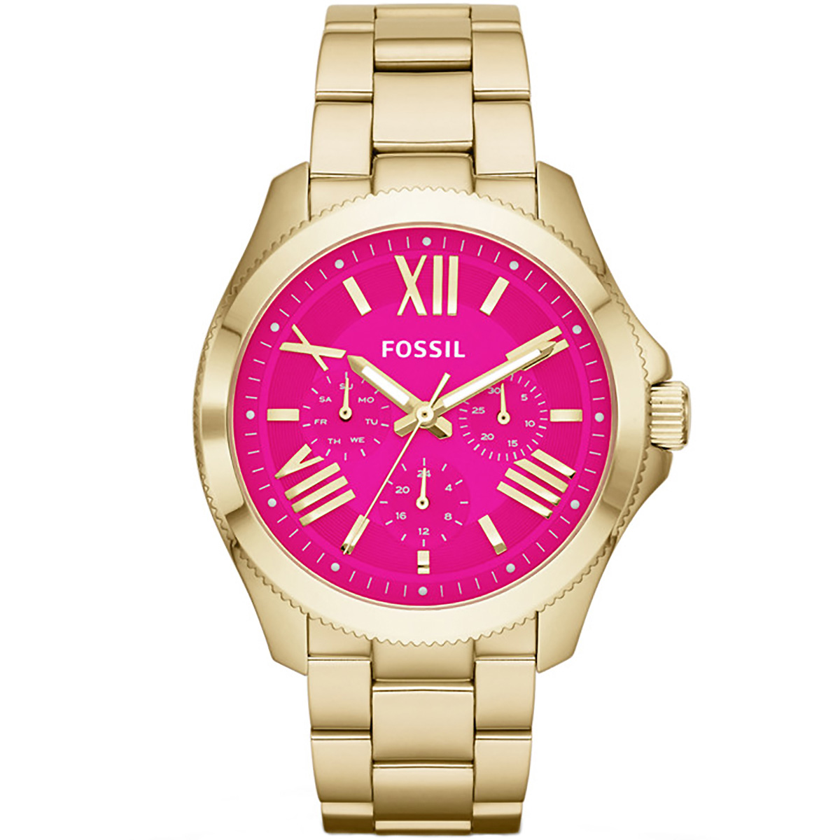 Damenuhren fossil gold  Fossil Uhr Cecile AM4539 Damenuhr Gold Pink Edelstahl Watch NEU & OVP