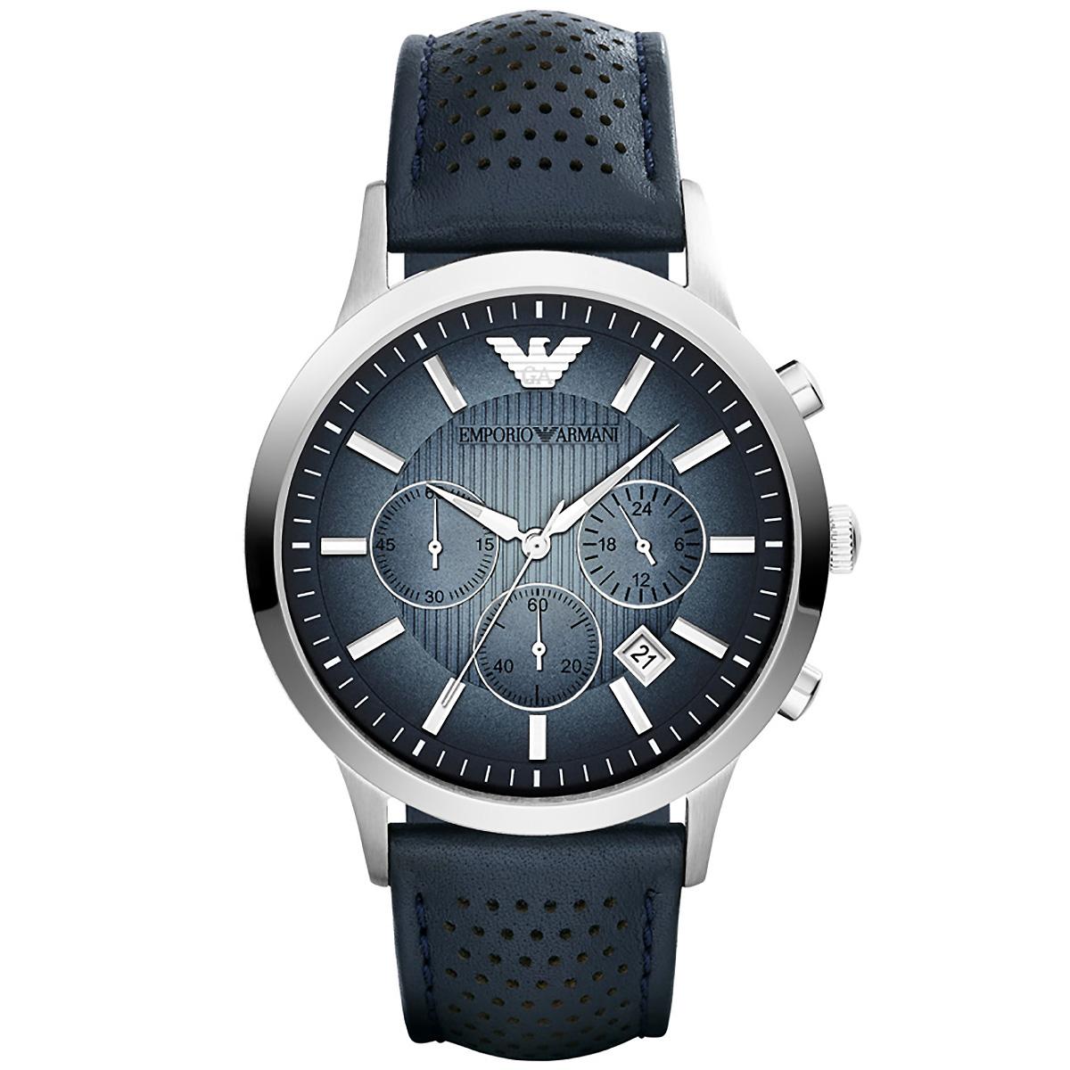 Herren Armbanduhr Leder Blau