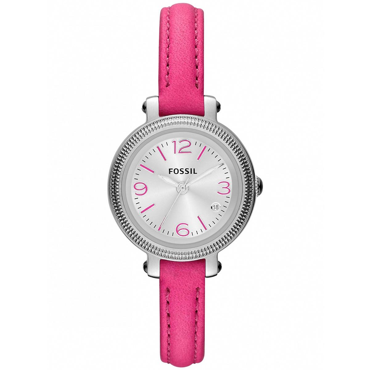 fossil uhr cecile es3302 damenuhr pink lederarmband silber. Black Bedroom Furniture Sets. Home Design Ideas