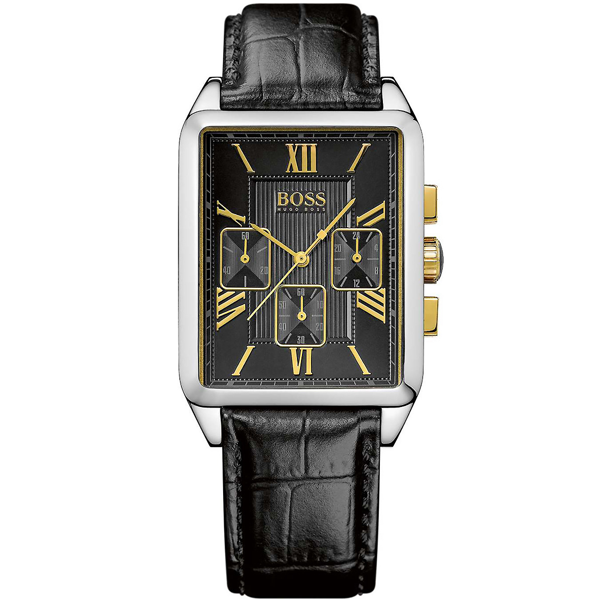 hugo boss uhr 1512726 herrenuhr schwarz silber gold leder. Black Bedroom Furniture Sets. Home Design Ideas