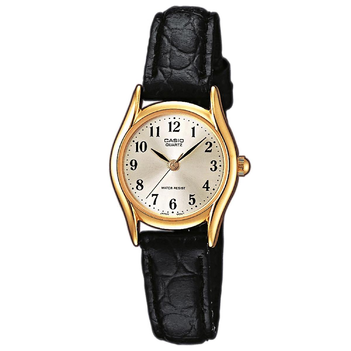 casio damenuhr ltp 1154pq 7b2 armbanduhr leder gold schwarz lady watch neu ovp ebay. Black Bedroom Furniture Sets. Home Design Ideas