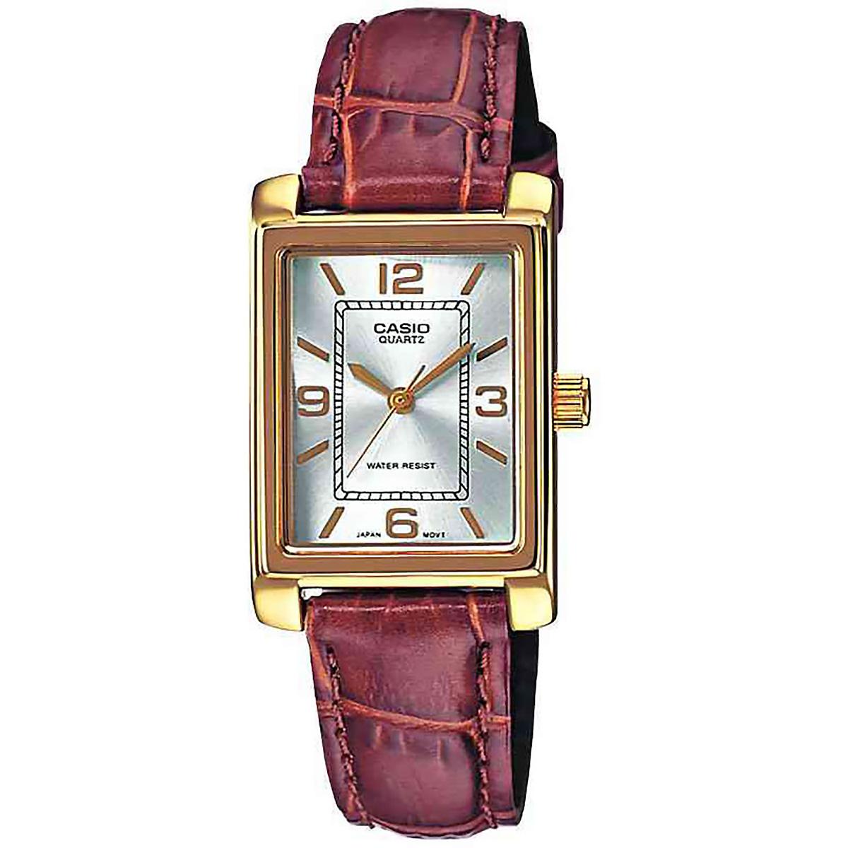 casio damenuhr ltp 1234pgl 7a armbanduhr leder silber braun gold watch neu ovp ebay. Black Bedroom Furniture Sets. Home Design Ideas