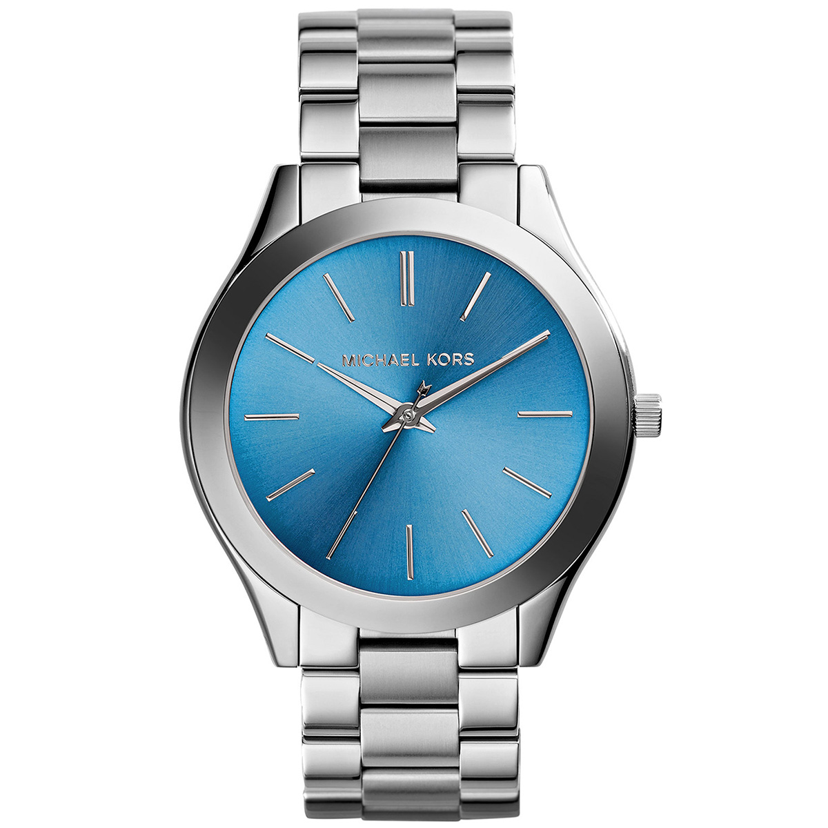 Damenuhren michael kors blau  Michael Kors Uhr MK3292 Runway Damenuhr Silber Blau Edelstahl Slim ...