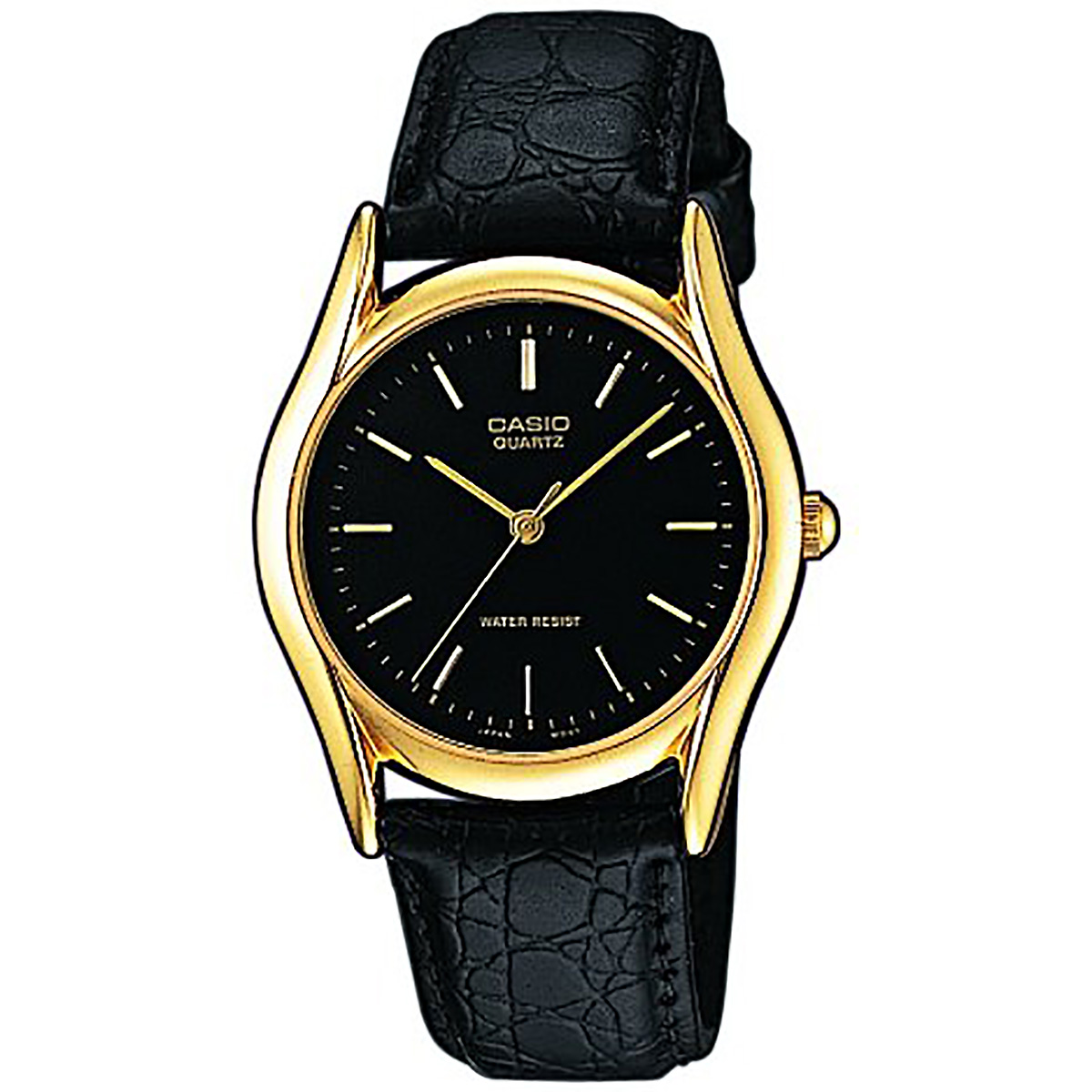 casio uhr mtp 1154pq 1a herrenuhr gold schwarz datum leder. Black Bedroom Furniture Sets. Home Design Ideas