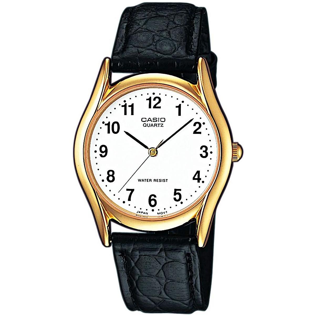casio uhr mtp 1154pq 7b herren armbanduhr leder wei gold. Black Bedroom Furniture Sets. Home Design Ideas
