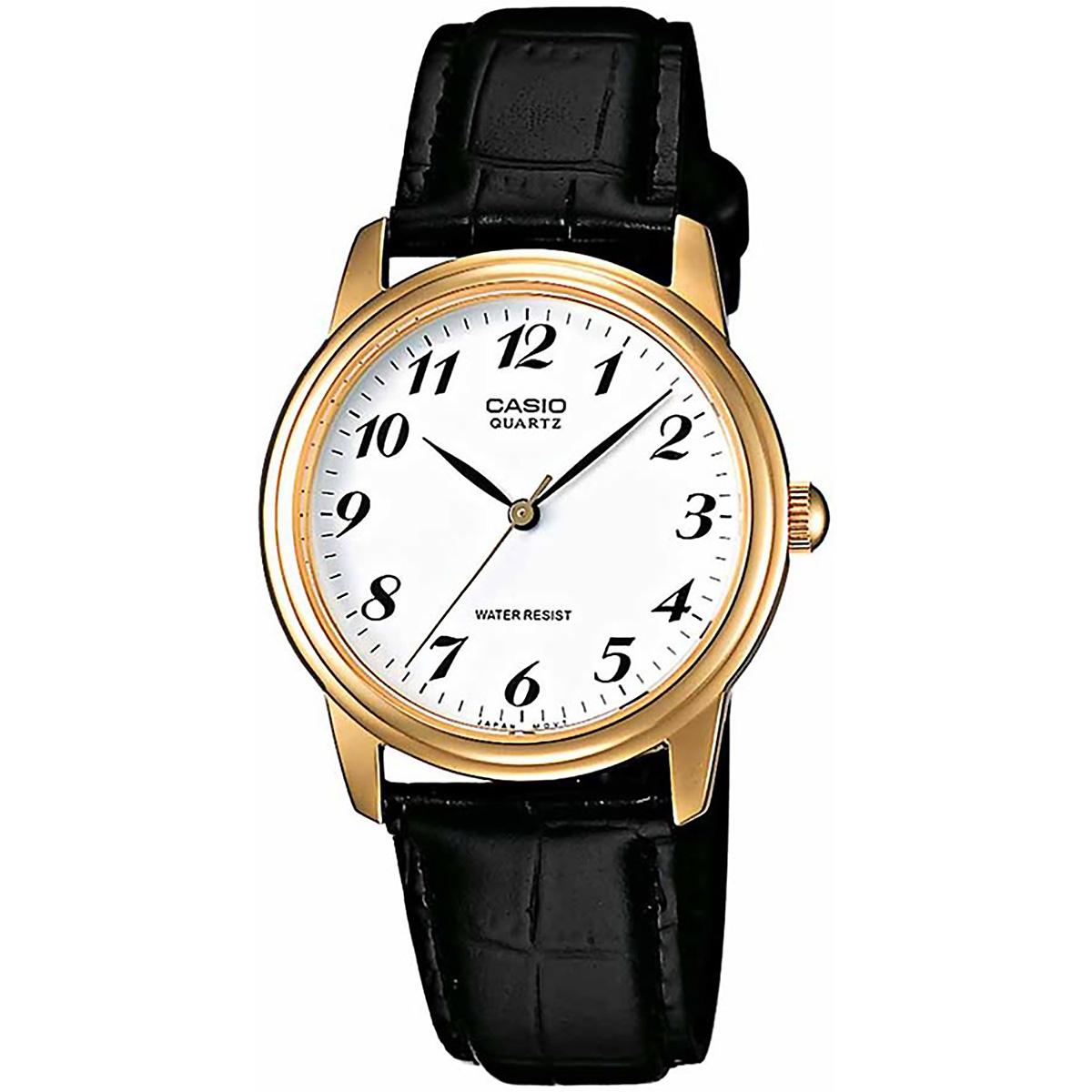 casio uhr mtp 1236pgl 7b herren armbanduhr leder wei gold. Black Bedroom Furniture Sets. Home Design Ideas
